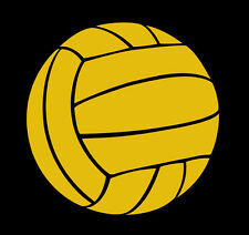 This is a water polo ball vinyl cut sticker glossy dark yellow or gold in color.