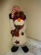 Stuffed Plush Snowman by Russ Door Handle Hanger or Ornament Velcro Hands