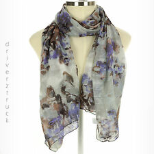 SIMPLY VERA WANG Moonlight Gray OBLONG Print SCARF Lightweight SILVER METALLIC