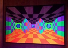 Vintage Original 1970's Introspection 3d Trippy Hippie Blacklight Poster 21x33