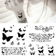 Black Butterfly & Letter Transfer Waterproof Temporary Tattoo Body Art Sticker