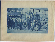 OCCUPATIONAL GROUP PHOTO MEN AND BOY AT MILL. CYANOTYPE.
