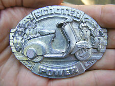 Vtg MOTOR SCOOTER Belt Buckle 1995 Vespa MOPED Tanside BIKE Pewter RARE VG++
