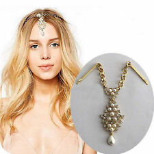 HA Chic Gold Pearl Flower Crystal Drop Bindi Hair Clip Tikka Indian Head Jewelry