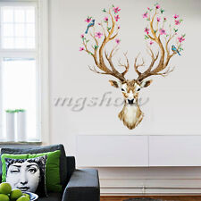 Sika Deer Flower Bird Tree Removable Home Room Wall Stickers Decals Decor Mural