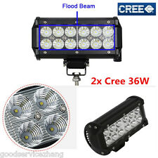 "2x 36W 7"" flood 6500K Work Light Car Truck Boat Driving Fog Offroad SUV 4WD Bar"