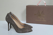 New sz 9 / 39 Charlotte Olympia Natalie Grey Sheryl Suede & PVC Pump Shoes