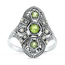 ANTIQUE ART DECO STYLE PERIDOT AND PEARL .925 SILVER FILIGREE RING Sz 10,   #37