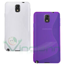 2x Custodia Wave Viola e Bianca per Samsung Galaxy Note 3 N9005 cover flessibile