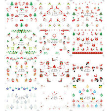 12 Sheet Christmas DIY Nail Art transfer Stickers Snowflakes Snowmen Nail Decals
