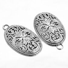 10x Antique Silver Tone Hollow Flower Rattan Alloy Oval Charms Pendants Craft BS