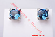 JUDITH RIPKA Cushion Cut Blue Corundum White Sapphire 18K Gold SS Stud Earrings