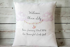 "Personalised Welcome Baby Girl - 16"" Cubierta Cojín Blanco Shabby Chic Vivero"