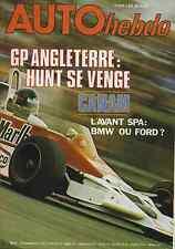 AUTO HEBDO n°72 du 21 JUILLET 1977 GP ANGLETERRE CANAM 24h de SPA