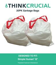 20PK Durable Garbage Bags Fit Simple Human Q, 50-65L / 13-17 Gallon