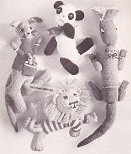 VINTAGE ZOO TOY'S panda,croc,kangaroo & lion 8ply or DK  -  toy crochet pattern