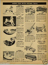 1952 PAPER AD Keystone Greyhound Bus Ride Em Locomotive Dump Truck Toy Shovel