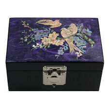 Mother of Pearl Asian Lacquer Wood Small Butterfly Jewelry Treasure Chest Box