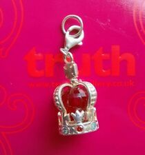 Genuine TRUTH silver PK 925 jewelled crown bracelet charm clip with carrier