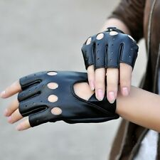 Perfect PU Leather Half Finger Driving Women Fingerless Guantes Gloves Black New