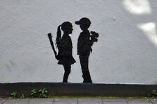 Banksy poster Boy Meets Girl  8X12 canvas print street art graffiti