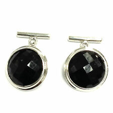 ANTIQUE STYLE FACETED BLACK ONYX CUFFLINKS 925 SOLID SILVER MENS GIFT