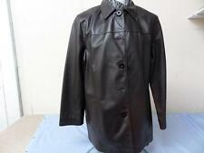 """WOMENS SINGLE BREASTED LEATHER COAT CHOCLATE SIZE 16 38"""" VERY GOOD SKU NO T723"""