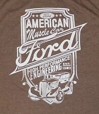 Men's FORD Vintage Style Tshirt Brown LRG American Muscle Cars Hot Rod Low Rider