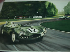 JAGUAR D TYPE STIRLING MOSS 1954 DUGAN SIGNED PRINT ARNAGE LE MANS 24 HEURES