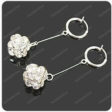 CLIP ON suspended CRYSTAL CUBE EARRINGS glass rhinestone SILVER PLATED mini hoop