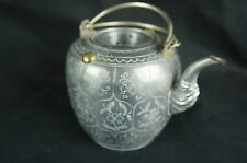 """Excellent Antique chinese pewter tea pot, 4 1/2"""" tall [Y8-W6-A9-E9]"""
