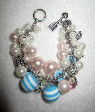 New BETSEY JOHNSON Anchors Away Bracelet Crystals Blue Pink Faux Pearl Authentic