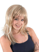 Adult Ladies Feather Cut 1970's 1980's Retro Rock Chick Fancy Dress Blonde Wig