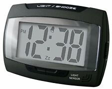 Champion Alarm Clock Auto Light Sensor Crescendo Snooze Black Battery Mains