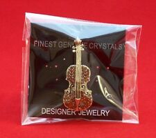 NEW Red Crystals Gold-Finish VIOLIN BROOCH Pin Badge Musician Teacher Music Gift