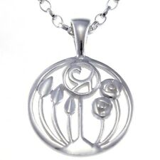 "Sterling Silver Charles Rennie Mackintosh Pendant Necklace with 18"" Silver Chain"