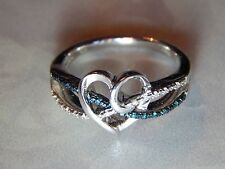 STERLING .30 TCW GENUINE BLUE & WHITE DIAMOND TWIST HEART DESIGN RING - SIZE 7