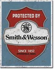 Protected by Smith & Wesson USA Security Haus und Garten Warnschild aus Metall