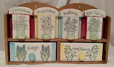 Fred Roberts Company Floral Ceramic Spice Rack Wood 2 Drawers & 4 Shakers Japan