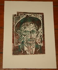 BILLY CHILDISH SELF PORTRAIT AFTER VAN GOGH LIMITED EDITION WOODCUT ART PRINT