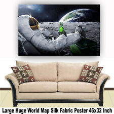 """Poster World Map Large Huge Giant Wall Print Silk Fabric Decor 46""""x32"""" Inch T40"""