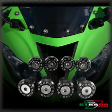 Strada 7 CNC Windscreen Bolts M5 Wellnuts Set Kawasaki ZX-6 ZX6R Black