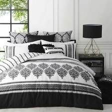 Logan and Mason TANGIER BLACK White King Size Bed Doona Duvet Quilt Cover Set