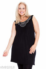 Black Top Ladies Stud Neck Tunic Sleeveless Vest Summer Plus Size Nouvelle 22 24