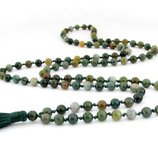Knot--Green Agate Gem Tibet Buddhist Prayer Beads Mala Necklace--108Beads--6mm