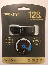 PNY Turbo Retract 128 GB USB 3.0 Flash Drive, NIB, Free Ship, Lowest $ on Ebay!