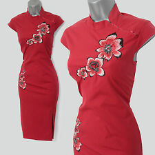 RARE Karen Millen Red Cotton Blend Chinese Oriental Style Wiggle Dress sz-8 EU36