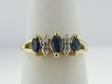 Estate Natural Blue Sapphires Diamonds Solid 10k Yellow Gold Ring FREE Sizing