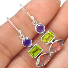 Garnet, Peridot & Amethyst 925 Sterling Silver Earring Jewelry EE13970