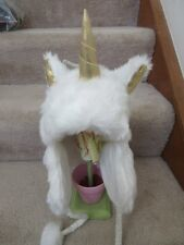 Justice White Gold Ultimate Unicorn Horn Earflap Hat Beanie New NWT